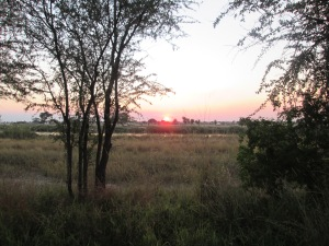 Sunset along the Okavango from our cabin window in Rundu