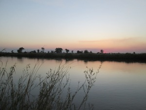 The Okavango at sunset in Rundu.