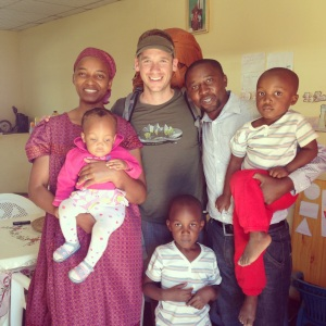 Jon with Teo and family at their home in Rundu