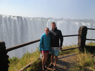 Posing in front of Victoria Falls