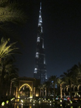 The Burj Khalifa at night from the Shouk next to the Dubai Mall