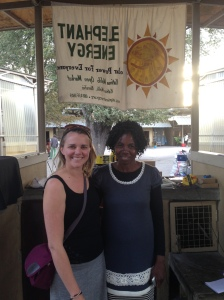 Jen and her friend Anna at the EE Katima Mulilo market kiosk