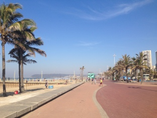 The 6 km promenade in Durban Jon long boarded up and down
