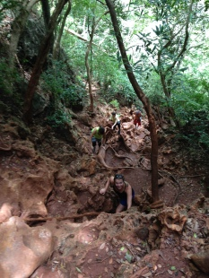 "Climbing the ""path"" to the Railay lookout and Sa Phra Nang, a hidden, tough-to-get-to lagoon"