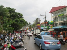 Main busy beach on Phuket - touristy, busy, crowded, even if it was rainy