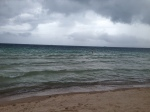 Same beach during the storm, Jon somwhere there still snorkeling