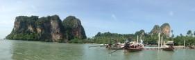 View of East Railay on the boat ride out