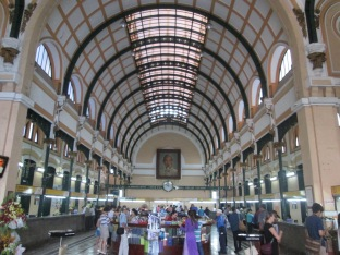 Central post office in Saigon - a tourist attraction due to the architecture from the 19th century French occupation, but cool to actually use it to ship a painting we bought