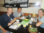 At lunch with The, our instructor from cooking class the day before, ordering us authentic dishes from central Vietnam