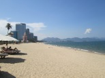 A look down the sandy beach of Nga Trang