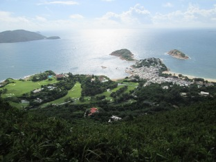 Overlooking beautiful golf course and beach along the Dragon's Back trail