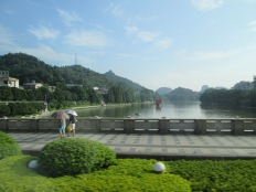 Crossing the river in Guilin, lots of wide sidewalks to walk along