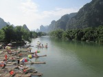 The smaller Yilong river with more authentic, human-powered bamboo boats