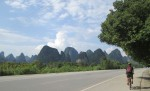 Road we biked along, with karst mountains surrounding us
