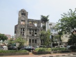 Old colonial buildings in ruins in Jakarta, reminiscent of Yangon, Myanmar