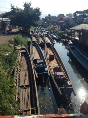 The boats that swarm Inle Lake, here waiting in the main town closest to the lake
