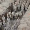 The terracotta army in one of the rows up close