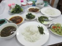 Typical Myanmar meal -veggies, meats, rice - tasty but flavors totally unique