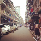 Typical Yangon downtown street
