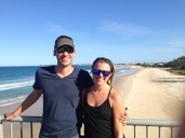 Pose on Coolangatta beach, Scott and Danielle took us to a great happy hour at a spot on the beach