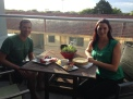 Jon (Wohlers :)) and Poppy enjoying Poppy's appetizer spread on their balcony before heading out for the night