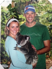 Picture of the print we got of Jen hugging a koala.