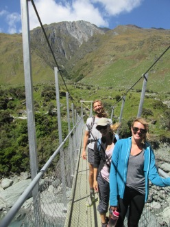 Crossing bridge to Rob Roy Glacier track with two friends (from Alberta, Canada and Boulder, CO) that we met at the hostel