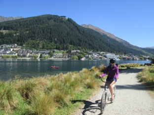 Biking along the lake, Queenstown