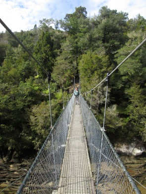 Long draw bridge across a river on the Abel Tasman hike