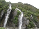 Waterfalls in the valley of Franz Glacier