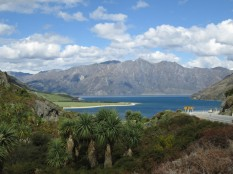 View coming into Lake Hawea from Lake Wanaka along the highway coming into Wanaka