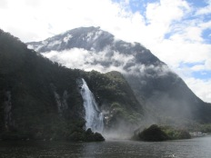 Falls near the departure point for the Milford Sound cruise
