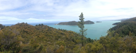 Lookout view into the sound along Abel Tasman