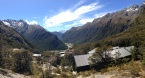 Looking over the valley and Routeburn Falls Hut