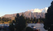 The Remarkables at sunset, viewed from our hostel common room