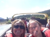 Jen and Jenny, friend from Boston we met in Wanaka, on their FREE jet boat ride ($129 pp value)! Jon was mtn biking, had he been there the girls probably would not have been approached by company
