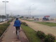 Enjoying the bike lane on a less sunny, cooler day in Vina del Mar