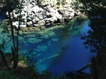 Amazingly clear and blue glacial water at the falls outside of Pucon