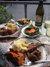 Christmas dinner - NZ lamb with wine and potatoes