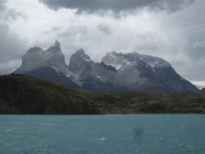 Views looking back at Valley Frances, Los Cuernos on catamaran ride back