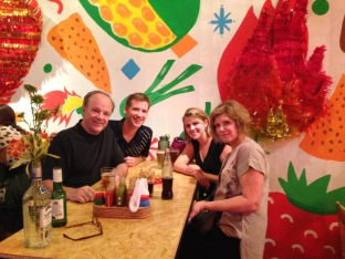 Eating again with Bob and Marcy at the Mexican place in the neighborhood we first stayed in