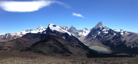 View of Cerro Torres and Fitz Roy from summit of a nearby mountain