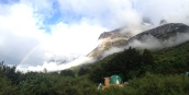 Morning at Los Cuernos - with rainbow!