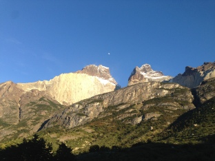 Awoke from our campsite to a beautiful morning, with moon, at Los Cuernos