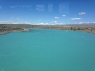 Crossing a bridge on drive from El Calafate to El Chaltan - amazing blue/green, glacial fed rivers