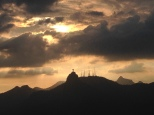 Sunset from Sugarloaf Mountain with Christ the Redeemer silhouette